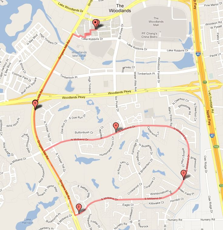 Club Maps | The Woodlands Running Club Running Mileage Map on